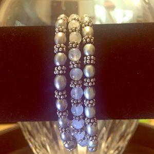 Artisan Crafted S/3 Sterling/Gem Stretch Bracelets